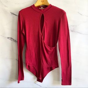 Long Sleeve Red Keyhole Cutout Bodysuit